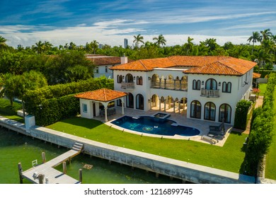 MIAMI BEACH, FL, USA - OCTOBER 28, 2018: Aerial photo luxury Miami waterfront mansions shot with drone