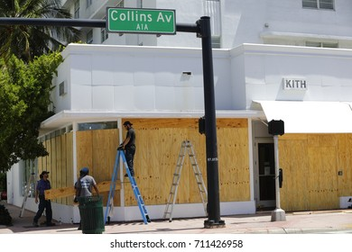 MIAMI BEACH, FL, USA - SEPTEMBER 7, 2017: Image of Miami Beach Surfside and Barrier Islands boarding up for Hurricane Irma arrival