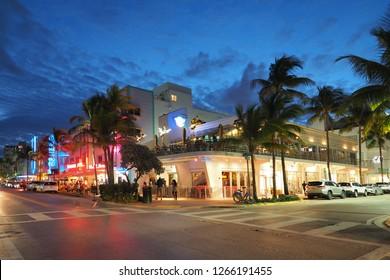 Miami Beach, Florida 12-19-2018 The Miami Beach Art Deco District and Ocean Drive at twilight.