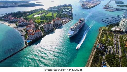 MIAMI BEACH, FLORIDA DECEMBER 20, 2016: Cruise ship enter to Atlantic ocean from Government Cut canal.