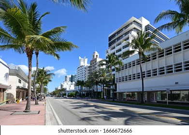 Miami Beach, Florida - February 29, 2020 - Art Deco buildings on Collins Avenue on clear cloudless morning.