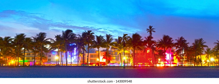Miami Beach Florida Hotels And Restaurants At Sunset On Ocean Drive World Famous Destination
