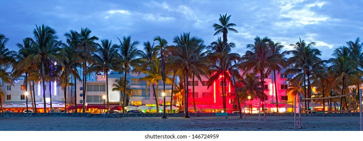Miami Beach, Florida  hotels and restaurants at sunset on Ocean Drive, world famous destination for it's nightlife, beautiful weather, Art Deco architecture and pristine beaches