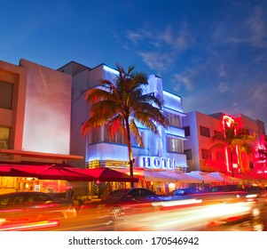 Miami Beach, Florida  hotels and restaurants at sunset on Ocean Drive, world famous destination for it's nightlife, beautiful weather and pristine beaches