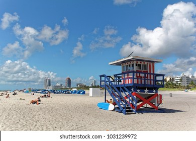 Miami beach, Florida - July 16, 2016: Colorful Lifeguard Tower in South Beach