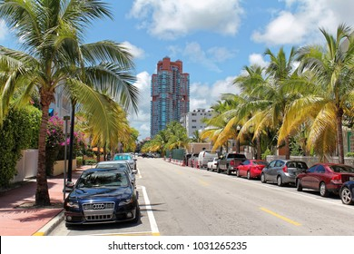 Miami beach, Florida - July 16, 2016: Ocean Drive hotels and buildings in Miami Beach, Florida. Art Deco architecture in South Beach is one of the main tourist attractions in Miami