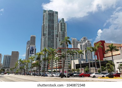 Miami beach, Florida - July 16, 2016: Skyscrapers and traffic along Biscayne Boulevard in downtown Miami