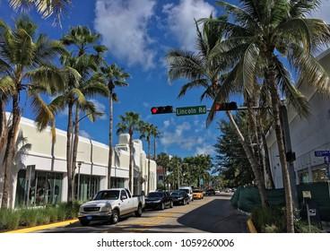 Miami beach, Florida - July 16, 2016: Meridian Avenue in Miami beach