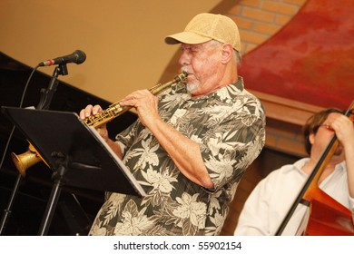 MIAMI BEACH, FLORIDA - JUNE 20: Jazz winds player Ira Sullivan performs onstage with Jamie Ousley at the latter's latest CD release at Bath Club, June 20, 2010 in Miami Beach