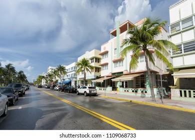 MIAMI BEACH, FLORIDA - JUNE 9, 2018: the famous art deco district of Ocean Drive in South Beach Miami, USA