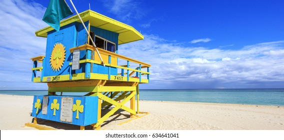 Miami Beach Florida, lifeguard house in a typical colorful Art Deco style