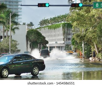 Miami Beach, Florida - September 28, 2008 - high tide flooding on West Avenue