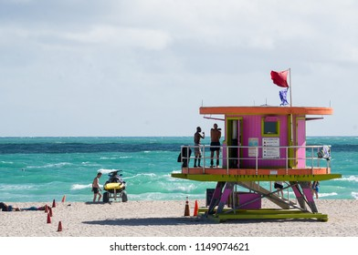 Miami Beach, Florida/ United States - January 2 2017: Colorful & stylized lifeguard towers are a feature of South Beach, in the Art Deco Historic District