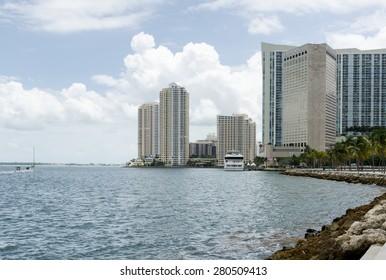 Miami Beach, Florida, US - May 17, 2015 - Miami Florida, skyscrapers and Atlantic ocean