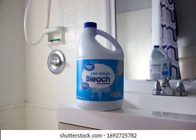 Miami Beach, Florida / USA - April 3 2020: Great Value concentrated bleach big bottle, disinfection of home and bathroom, sodium hypochlorite