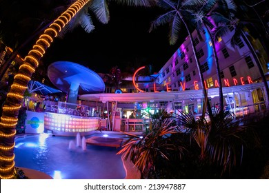 Miami Beach, Florida USA - August 19, 2014: The historic Clevelander Hotel in Miami Beach, a popular international travel destination, in the evening with neon lights and art deco architecture.
