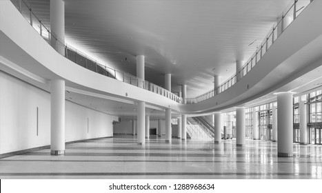 MIAMI BEACH, FLORIDA, USA - DECEMBER 14, 2018: Panorama of an empty interior of the lobby of the contemporary Miami Beach Convention Center