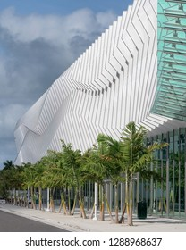 MIAMI BEACH, FLORIDA, USA - DECEMBER 14, 2018: Exterior entrance of the contemporary Miami Beach Convention Center