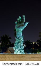 Miami Beach, Florida, USA - January 5th, 2019, The Holocaust Memorial. The memorial consists of several elements. The focal point is the 13 meter (42 feet) high bronze sculpture The Sculpture of Love.