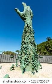 Miami Beach, Florida, USA - January 10, 2019, The Holocaust Memorial. The memorial consists of several elements. The focal point is the 13 meter (42 feet) high bronze sculpture The Sculpture of Love.