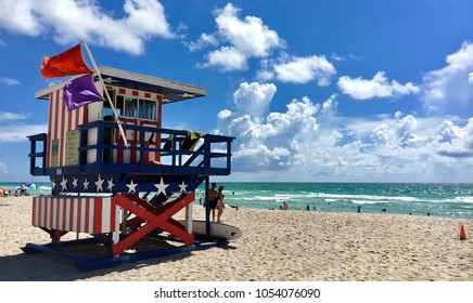 Miami beach, Florida, USA - July 16, 2016: Colorful Lifeguard Tower in South Beach Miami