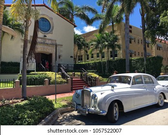 Miami beach, Florida, USA - July 16, 2016: Bride and groom luxury car in front of church in Miami beach