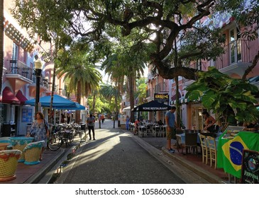 Miami beach, Florida, USA - July 17, 2016: Espanola Way in Miami Beach is a popular pedestrianised stretch of bars, restaurants and shops and has been used as a filming location for various TV shows