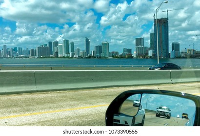 Miami beach, Florida, USA - July 19, 2016: In the car from Miami beach to Key West