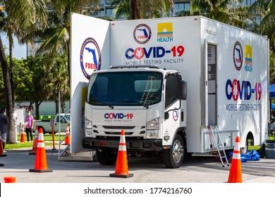 Miami Beach, Florida, USA - July 11, 2020: Florida Health and FDEM COVID-19 Mobile Testing Facility. Walk-up coronavirus testing site at Miami Beach, Florida.