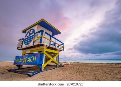 Miami Beach, Florida, USA life guard tower.