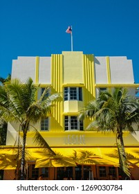 Miami Beach, Florida/ USA - November 2 2014: The Leslie Hotel, on Ocean Drive, Miami Beach, was designed by Albert Anis, in the Art-deco style,, and opened in 1937