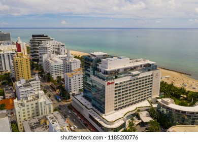 MIAMI BEACH, FLORIDA, USA - SEPTEMBER 15, 2018: Aerial drone photo of the Miami Beach Faena District with iconic hotels and beachfront resorts