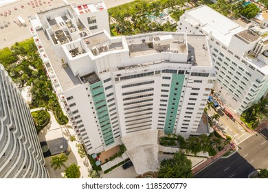MIAMI BEACH, FLORIDA, USA - SEPTEMBER 15, 2018: Drone photography Faena Miami Beach