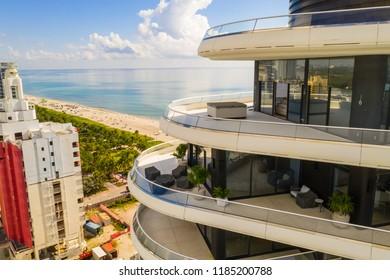 MIAMI BEACH, FLORIDA, USA - SEPTEMBER 15, 2018: Faena House Miami Beach aerial drone photography