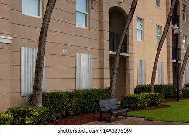 MIAMI BEACH, FLORIDA, USA – September 1 2019: Residents of Miami, Florida, USA are getting ready for Hurricane Dorian. Miami residents protect the windows of houses.