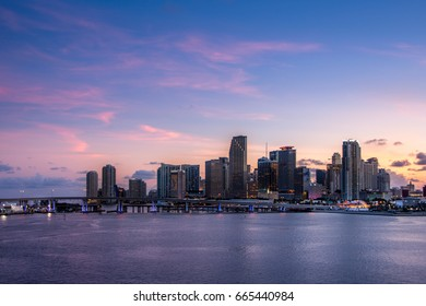 Miami Beach Florida USA sunset skyline