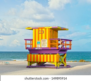 Miami Beach Florida USA, typical Art Deco lifeguard house on a beautiful summer day