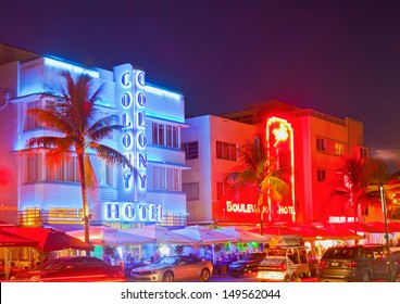 MIAMI BEACH, FLORIDA, USA-AUGUST 9:  Art Deco hotels and restaurants at night on Ocean Drive on August 9, 2013, world famous destination for nightlife, beautiful weather and pristine beaches