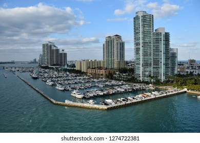 Miami beach Florida waterfront scenery and boat marina