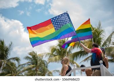 Miami Beach, Florida/USA - April 8, 2018: Thousands attend the Gay Pride Parade in Miami Beach, Florida
