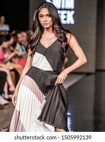Miami Beach, Florida/USA – July 15 2019: A model walks the runway during the CARMEN STEFFENS show At Miami Swim Week Powered By Art Hearts Fashion Swim/Resort 2019/20 at Faena Forum.