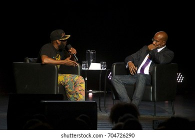 """Miami Beach, FL/USA - August 13, 2017: Van Jones shares the stage with Taleb Kweli at the Filmore on Miami Beach. Van Jones is a CNN Reporter/Contributor on his """"We Rise Tour""""."""
