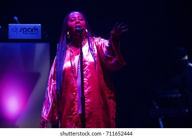 Miami Beach, FL/USA - August 23, 2017:  Lalah Hathaway performing at the Filmore on Miami Beach, Florida. Hathaway opened for Mary J. Blige.