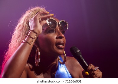 Miami Beach, FL/USA - August 23, 2017:  Mary J Blige (Strength of a Woman Tour) performing at The Fillmore Miami Beach at Jackie Gleason Theater.