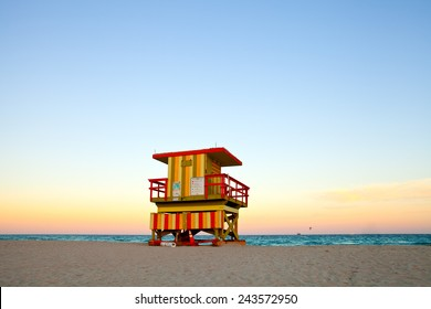 Miami Beach lifeguard house in Art Deco style at sunset