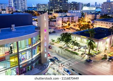 MIAMI BEACH - MARCH 30, 2018: Beautiful skyline of Lincoln Road at night. Miami attracts 20 million visitors annually.