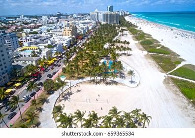 Miami Beach Ocean Drive Aerial Lummus Park