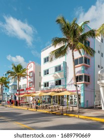 Miami Beach, Ocean Drive FL, USA - March 2, 2020: One of the most famous streets on east coast of USA. Morning vibes at Ocean Drive. Beautiful Art Deco Historic District.