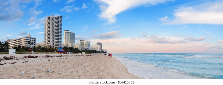 Miami Beach ocean view at sunset