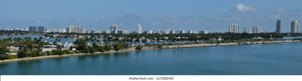 Miami Beach skyline seen from downtown looking east